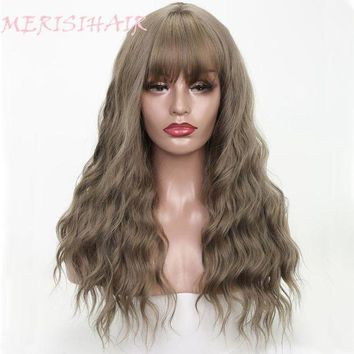 DCCKION MERISI HAIR 26' Long Grey Brown Womens Wigs with Bangs Synthetic Wavy Wigs for Black Women African American
