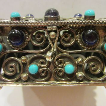 Sterling Miniature Chest Raised Filigree Decorated Gems Made In Mexico