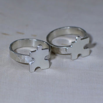 Sterling silver puzzle pieces friendship rings