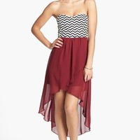 Trixxi Chevron Bodice High/Low Dress (Juniors) (Online Only) | Nordstrom
