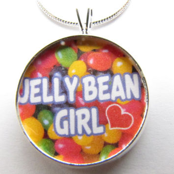 Jellybean GIRL necklace-candy jewelry,jelly beans,Nickname, spring,jellybean, candy necklace, little girl ,grandaughter