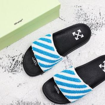 Off-white C/o Virgil Abloh Ow Black Blue Slide Slippers - Best Deal Online
