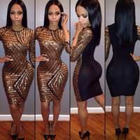 Bronze Sequined Sheer Bodycon Dress