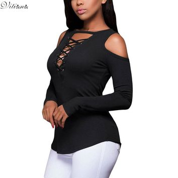 VITIANA Women Spring Fashion Long sleeve T Shirt Lady Sexy V Neck Hollow Out Casual Party Basic Female T-shirt Hot Tops