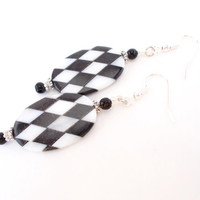Black White Earrings, Sea Shell Earrings, Checkerboard Earrings, Racing Earrings, Modern Earrings, Mod Black Earrings, Classic Bead Earrings