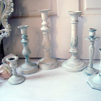 Antique White Candle Holders, Patina Brass Metal Candlestick Holders, Shabby Chic, Set of 6 Taper Candleholders, Wedding Decor, Up Cycled