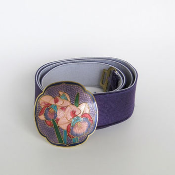 Vintage 1980s Purple Elastic Stretch Belt w/ Floral Cloisonne Enamel Buckle
