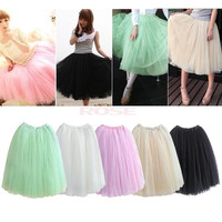 New Women Fashion Princess Fairy Style 5 layers Tulle Dress Bouffant Skirt 5 Colors 5174 One Size = 1745655364