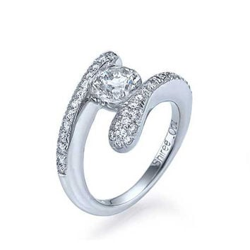 Platinum Tension Set Round Engagement Ring Pave - 0.5ct Diamond