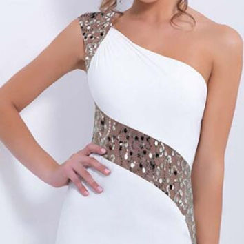One Shoulder Off Sequins Bridesmaid Evening Dresses  B0013879
