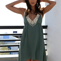 No Other Love Sage Crochet Hi-Low Dress