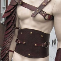 Spartacus Leather Gladiator Manica full by SharpMountainLeather