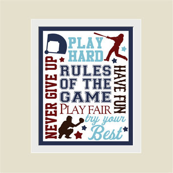 BASEBALL Rules of the Game Typography Wall Art Print - Boy's Room, Nursery, Playroom, Baseball Player, Sports Gift