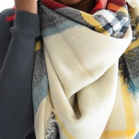 Falling Leaves Blanket Scarf Beige