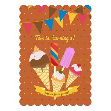 Ice cream summer Birthday Party Invitation