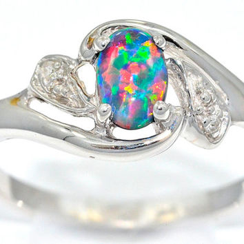 0.50 Carat Black Opal Oval Diamond Ring .925 Sterling Silver Rhodium Finish