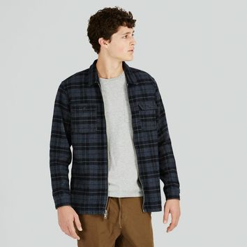 Buffalo Check Flannel Zip-Up Shirt in Blue