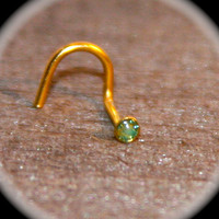 Petite 2mm Green Opalescent Nose Stud, 20 Gauge, Tiny tragus cartilage Stud, Tiny Nose Ring Tiny Circle  Nose Ring Open Pearl Nose Jewelry