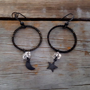 Black Hoop Sterling Silver Earrings, Black Moon Star Earrings, Raw Crystal, Herkimer Diamond, Gemstone Jewelry, Gothic, Raw Crystal Jewelry