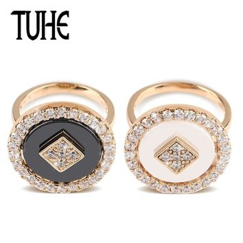 TUHE New Vintage Big Round Rings For Women Rose Gold With White Black Ceramic Crystal Bohemian Jewelry Fashion Wedding Rings