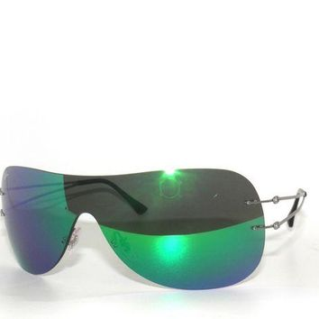 Kalete CLEARANCE~RAY BAN 8057 SHINY SILVER/ GREEN FLASH 159/3R SunglaSSes Rayban