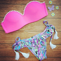 Pink Bra Triangle Swimsuit Swimwear Brazilian Bathing Suit