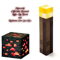 ThinkGeek Minecraft Light Up Torch and Redstone Ore Set Of 2