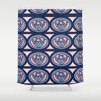 Pink and Navy Shower Curtain by Ashley Hillman