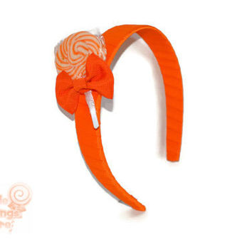 Orange Lollipop Headband , Orange Headband, Candy Headband, Flowergirl Accessory, Lollipop Wedding, Birthday, Edible Accessory, Sweet 16