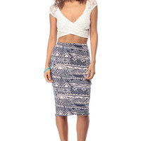 Ancient Tribes Pencil Skirt