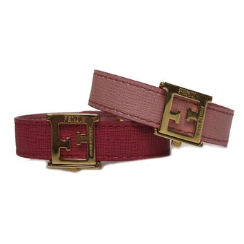 Fendi FF 'Crayons' Reversible Pink Rose Saffiano Leather Bracelet Fendi 8AG408
