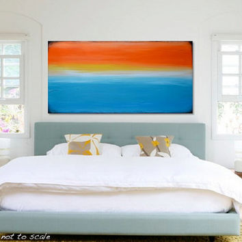 "HUGE 48"" Original Abstract Seascape Sunset Painting - Large Bright Modern Acrylic Canvas Art- Orange, Yellow, Turquoise - 48x24 - FREE Ship"