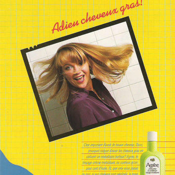 1980 French Agree Conditioner Advertisement Wall Decor Agree Advertisement French Québec Ad Bright Yellow Beauty Advertising