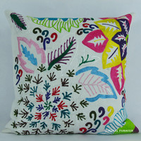 "16"" Indian Suzani Embroidered Decorative Throw Pillow Case"