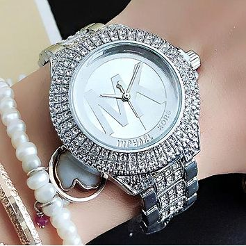 Michael Kors MK Stylish Women All Diamond Quartz Watch Wristwatch Silvery