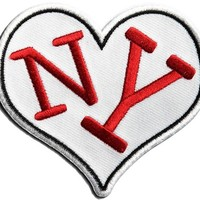 "Embroidered Iron On Patch - I Love NY 3"" Heart Patch"
