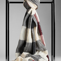 Check Crinkled Cashmere Scarf