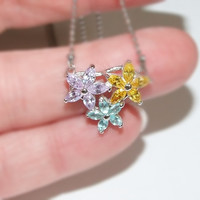 Sweet Gem Flowers Necklace, Lavender and Yellow Sapphire CZ, Blue Topaz, Gemstone Stars, Rhodium Plated Tiny Ball Chain, Adjustable Length