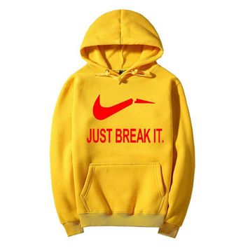 JUST BREAK IT Fashion Casual Long Sleeve Hooded Print Pullover Sweater-3