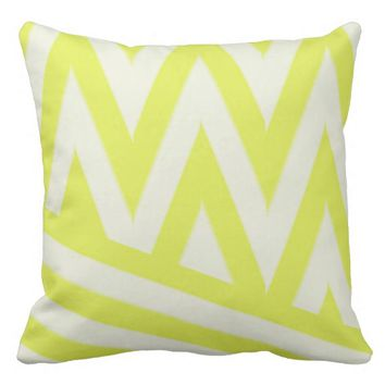 White yellow chevron striped geometric modern throw pillow