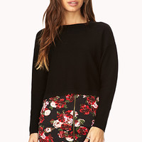 FOREVER 21 Pixelated Floral Skirt Black/Red