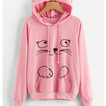 Pink Cat Print Ear Pockets Hooded Cute Teens Oversized Pullover Sweatshirt