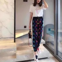GUCCI Multicolor Velvet Retro All-match Ethnic Pattern Loose Casual Wide Leg Pants
