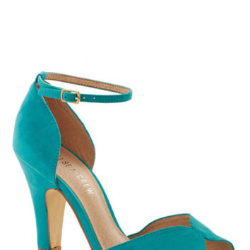 Chelsea Crew Vintage Inspired Fine Dining Heel in Turquoise