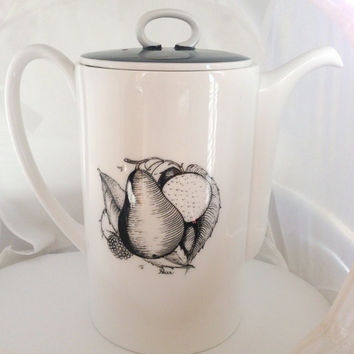 Susie Cooper Black Fruit Coffee Pot - pear apple - black white grey gray - English Fine Bone China - 1960s - modern classic - Wedgwood