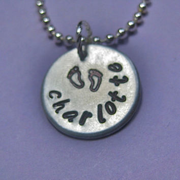 """Mommy Necklace: Custom Hand Stamped Personalized 3/4"""" Baby Feet necklace"""