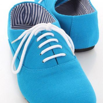 Blue Lace Up Closed Toe Oxford Flats