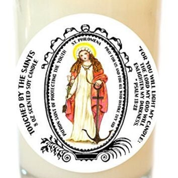 Saint Philomena for Protecting the Youth 8 Oz Scented Soy Glass Prayer Candle