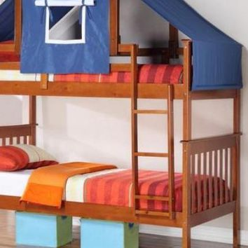 Jayden Boy's Bunk Bed with Blue Tent