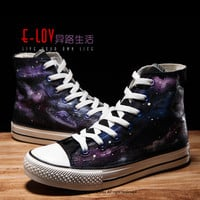 E-LOV 26 Brand Shoes Special Galaxy & Rabbit Painting Designs Hand-Painted Canvas Shoes Personalized Adult Casual Shoes Sneakers